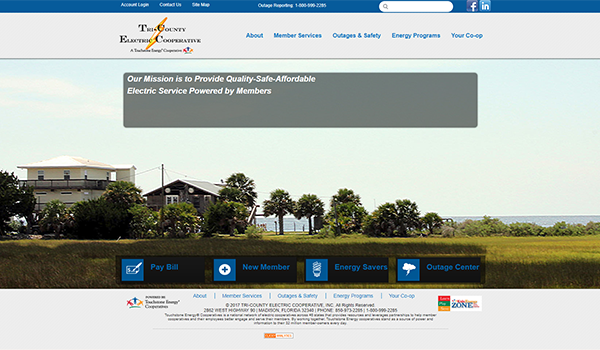 Image of Tri-County Electric Website